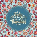 Feliz navidad. Xmas card on Spanish language. Warm wishes for happy holidays in Spain. English translation: Merry Christmas Royalty Free Stock Image