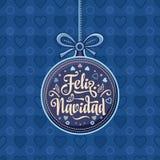 Feliz navidad. Xmas card on Spanish language. Warm wishes for happy holidays in Spain. English translation: Merry Christmas Royalty Free Stock Images