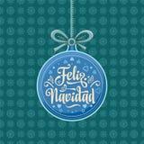 Feliz navidad. Xmas card on Spanish language. Warm wishes for happy holidays in Spain. English translation: Merry Christmas Stock Images