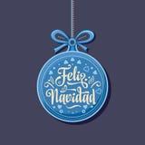 Feliz navidad. Xmas card on Spanish language. Warm wishes for happy holidays in Spain. English translation: Merry Christmas Stock Photos