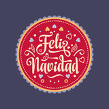 Feliz navidad. Xmas card. Spanish language. Feliz navidad. Xmas card on Spanish language. Warm wishes for happy holidays in Spain. English translation: Merry Stock Photo