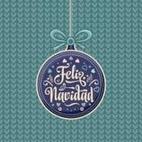 Feliz navidad. Xmas card on Spanish language. Warm wishes for happy holidays in Spain. English translation: Merry Christmas Royalty Free Stock Photos