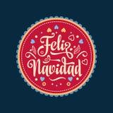 Feliz navidad. Xmas card. Spanish language. Feliz navidad. Xmas card on Spanish language. Warm wishes for happy holidays in Spain. English translation: Merry Stock Image