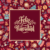 Feliz navidad. Xmas card on Spanish language Stock Image
