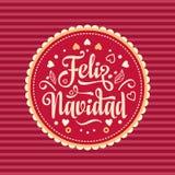 Feliz Navidad xmas för kortillustrationvektor Spanskt språk vektor illustrationer