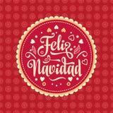 Feliz Navidad xmas för kortillustrationvektor Spanskt språk royaltyfri illustrationer