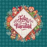 Feliz Navidad Xmas karta na Hiszpańskim języku ilustracji