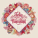 Feliz Navidad Xmas karta na Hiszpańskim języku royalty ilustracja