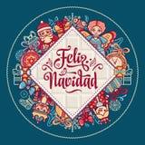 Feliz Navidad Xmas karta na Hiszpańskim języku ilustracja wektor