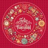 Feliz Navidad Xmas karta na Hiszpańskim języku Grże życzenia dla szczęśliwych wakacji royalty ilustracja