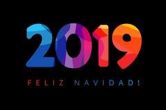 2019, Feliz Navidad xmas Spanish greetings, translate: Merry Christmas. Holidays Happy New Year black background, colorful stained vector illustration