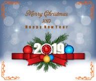 Feliz Navidad y Feliz Año Nuevo 2019 foto de archivo