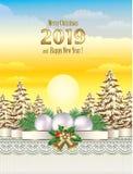 Feliz Navidad y Feliz Año Nuevo 2019 ilustración del vector
