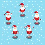 Feliz Navidad y Feliz Año Nuevo, cinco Santa Claus Do muchos gestos libre illustration