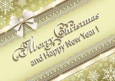 Feliz Navidad y Feliz Año Nuevo con el fondo de los copos de nieve libre illustration