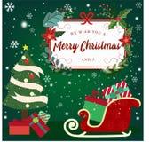 Feliz Navidad y Feliz Año Nuevo con la cabaña y los copos de nieve en el fondo azul, concepto de la publicidad de la Navidad wi d libre illustration