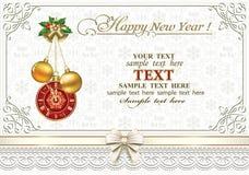 Feliz Navidad y Feliz Año Nuevo 2019 Fondo de la Navidad con las bolas, campanas, relojes libre illustration