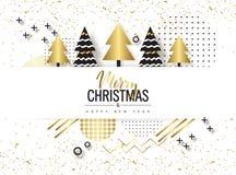 Feliz Navidad y Feliz Año Nuevo Fondo de moda con los árboles de oro y los diseños geométricos Cartel, tarjeta, etiqueta, diseño  ilustración del vector