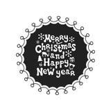 Feliz Navidad y Feliz Año Nuevo Frase de la caligrafía El cepillo manuscrito sazona las letras Frase de Navidad Mano drenada Fotos de archivo