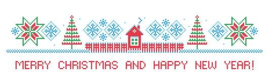 Feliz Navidad y Feliz Año Nuevo Frontera Puntada cruzada foto de archivo