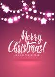 Feliz Navidad y Año Nuevo Garland Light Design en fondo rosado Fotos de archivo