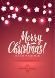 Feliz Navidad y Año Nuevo Garland Light Design en fondo rosado Imagenes de archivo