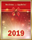 Feliz Navidad y Feliz Año Nuevo 2019 Ilustración del vector ilustración del vector