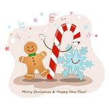 Feliz Navidad y Feliz Año Nuevo Ilustración del vector Imagen linda de las galletas, de los copos de nieve y del caramelo de una  Fotos de archivo libres de regalías