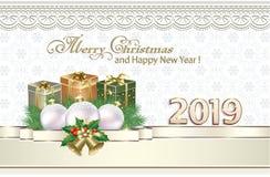 Feliz Navidad y Feliz Año Nuevo 2019 La Navidad libre illustration
