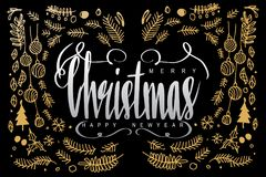 Feliz Navidad y Feliz Año Nuevo, letras de la caligrafía en dar Fotos de archivo