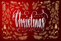 Feliz Navidad y Feliz Año Nuevo, letras de la caligrafía en dar Fotos de archivo libres de regalías