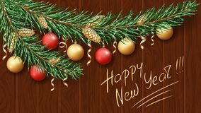Feliz Navidad y Feliz Año Nuevo 2019 Rama verde de un árbol en la nieve Decoraciones festivas de la Navidad ilustración del vector