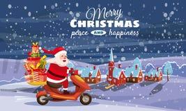 Feliz Navidad y Feliz Año Nuevo, Santa Claus feliz con una caja de regalos que monta una vespa Fondo del paisaje del invierno stock de ilustración