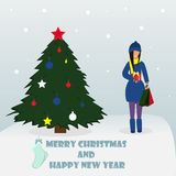 Feliz Navidad y Feliz Año Nuevo Situación de la mujer con el regalo Ilustración del vector libre illustration