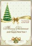 Feliz Navidad y Feliz Año Nuevo 2019 Tarjeta de felicitación con el árbol y los copos de nieve de los hristmas stock de ilustración