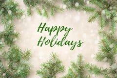 Feliz Navidad y Año Nuevo tipográficos en fondo del día de fiesta con la decoración de Navidad, la rama del árbol de abeto y la n Fotografía de archivo