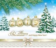 Feliz Navidad y Feliz Año Nuevo 2019 Tre de la Navidad ilustración del vector