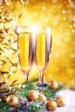 Feliz Navidad y Feliz Año Nuevo Un fondo del ` s del Año Nuevo con las decoraciones del Año Nuevo Tarjeta del ` s del Año Nuevo Fotos de archivo libres de regalías