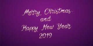Feliz Navidad y Feliz Año Nuevo 2019 Vector fotografía de archivo libre de regalías