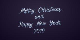 Feliz Navidad y Feliz Año Nuevo 2019 Vector imagen de archivo libre de regalías