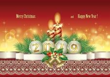 Feliz Navidad y año feliz 2019 Papá Noel en un trineo libre illustration