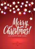 Feliz Navidad y Año Nuevo Garland Light Design en fondo rosado Fotografía de archivo libre de regalías