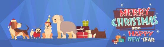 Feliz Navidad y bandera horizontal de la Feliz Año Nuevo con los perros que llevan la tarjeta de Santa Hats Winter Holidays Greet Imagen de archivo libre de regalías