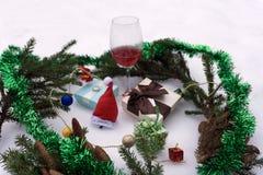 Feliz Navidad y collage del tema del Año Nuevo integrado por diversas imágenes Foto de archivo