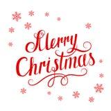 Feliz Navidad y copos de nieve de la inscripción roja en el fondo blanco Fotos de archivo