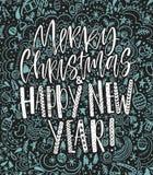 Feliz Navidad y diseño de letras manuscrito de la Feliz Año Nuevo Ilustración del vector Fondo negro con azul claro ilustración del vector