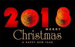 Feliz Navidad 2018 y diseño de saludo del texto de la Feliz Año Nuevo 2019 en icono coloreado oro en fondo negro abstracto stock de ilustración