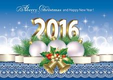 Feliz Navidad y Feliz Año Nuevo 2016 Foto de archivo