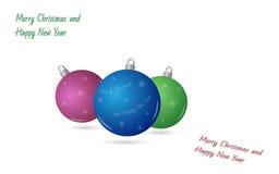 Feliz Navidad y Feliz Año Nuevo - bolas de la Navidad Fotos de archivo