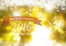 Feliz Navidad y Feliz Año Nuevo 2016 con el reno del oro Foto de archivo libre de regalías